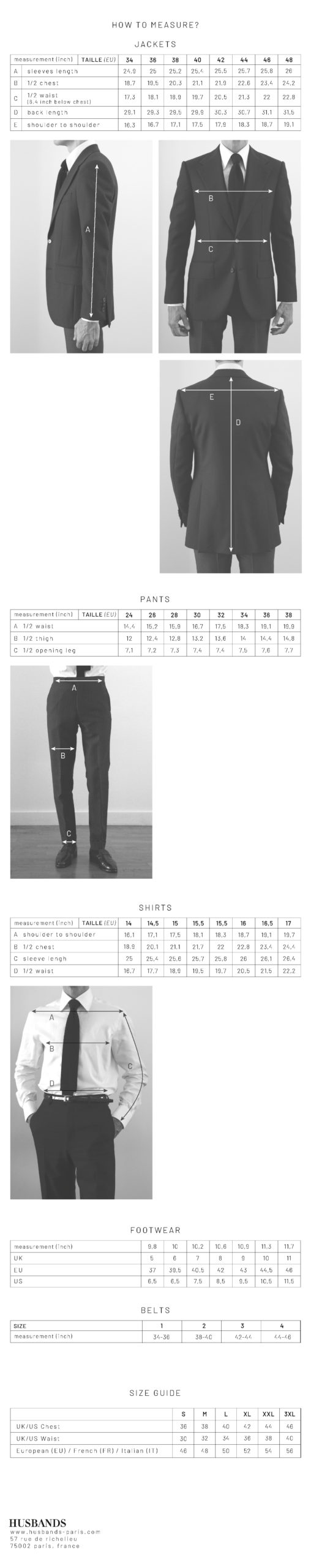 Husbands sizing guide EN