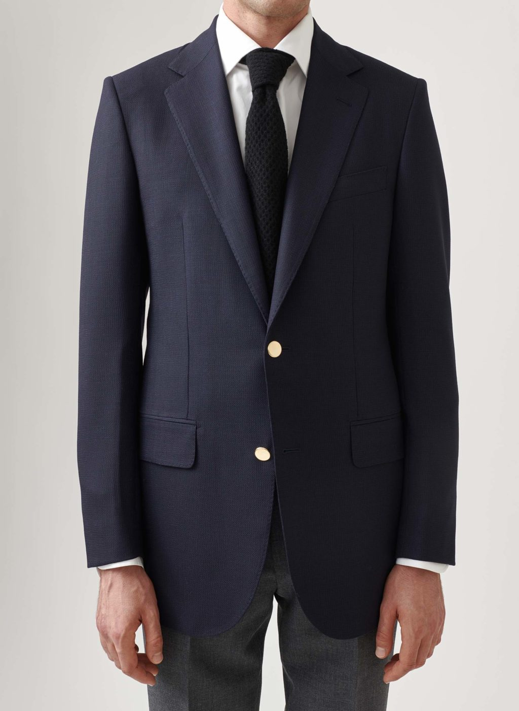 Single-breasted mignight blue blazer with golden buttons