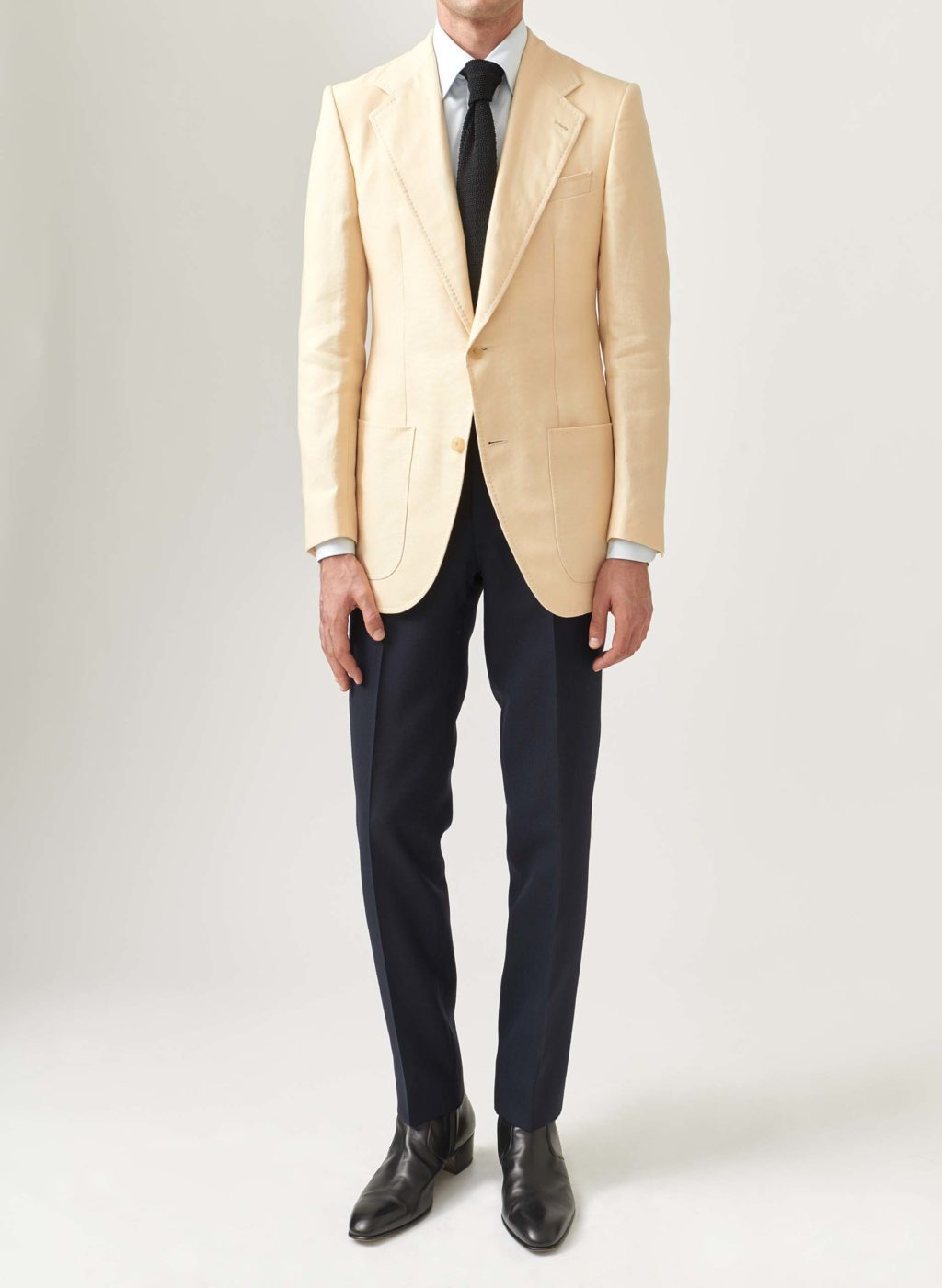 single-breasted cream linen jacket