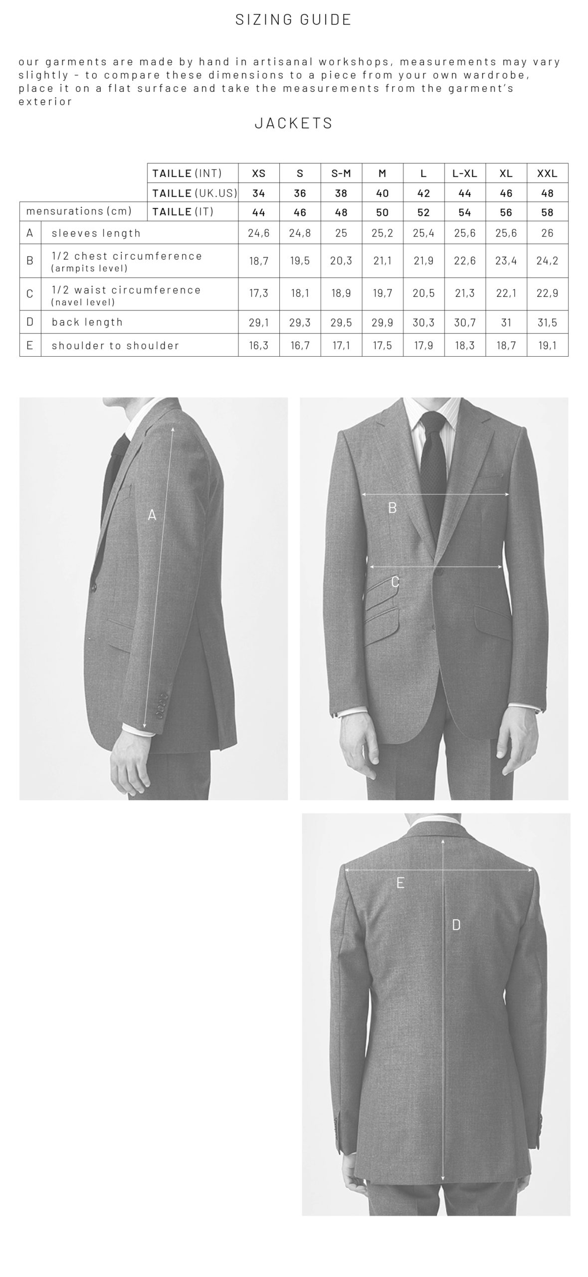 SIZING GUIDE ENGLISH VERSION - SUITS AND JACKETS