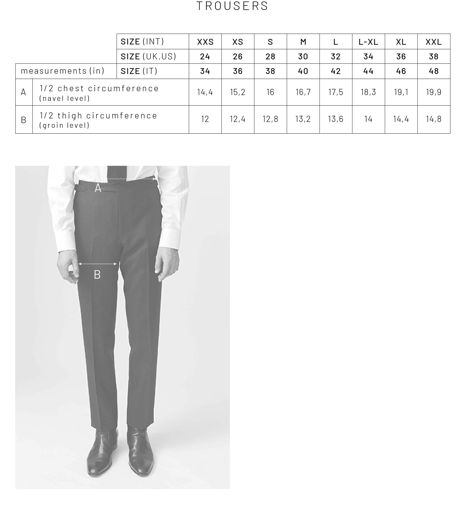 SIZING GUIDE ENGLISH VERSION - TROUSERS
